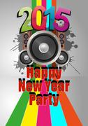 Illustration of 2015 happy new year party with loudspeacker Stock Illustration