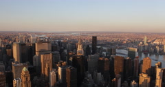 Ultra HD 4K Sunset Light Aerial View Manhattan New York City Big Apple Skyline Stock Footage