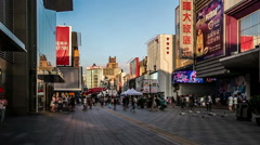The customers wander in Zhongjie pedestrian street of Shenyang, China Stock Footage