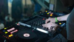 Dj playing turntables Stock Footage