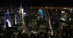 UltraHD 4K Big Apple Skyscrapers Lights Aerial View New York City Skyline Night Stock Footage