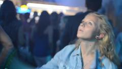 Girl blondie dancing in the club - stock footage