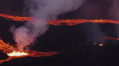 Aerial Volcanic Molten Lava Holuhraun Barren Landscape Bardarbunga Iceland Stock Footage