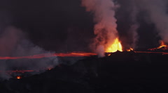 Aerial Flowing Molten Lava Holuhraun Volcano Erupting Fissures Magma Iceland Stock Footage