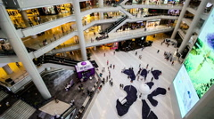 The customers wander in Henglong Shopping mall of Shenyang, China Stock Footage