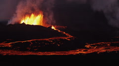 Aerial Night Volcano Lava Holuhraun Seismic Activity Land Fissures Iceland Stock Footage