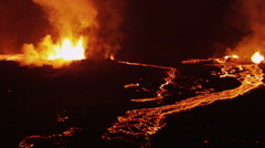 Aerial Lava Rivers Nature Molten Fire Eruption Holuhraun Volcano Night Iceland Arkistovideo