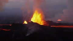 Stock Video Footage of Aerial Volcanic Molten Lava Holuhraun Barren Landscape Bardarbunga Iceland