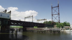 Metro-north-bridge with clouds Stock Footage