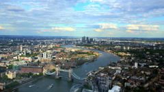Stock Video Footage of London with Tower Bridge from above aerial view