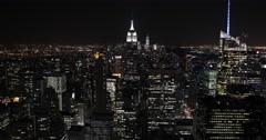UHD 4K Establishing Shot Aerial View NYC Towers Skyline Big Apple Night Light US Arkistovideo