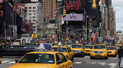 Crowded Rush Hour Cars Traffic Times Square New York City Manhattan Busy Street - stock footage