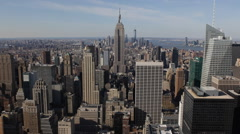 Spectacular New York City Skyline Aerial View Midtown Manhattan Sunny Blue Sky Stock Footage