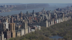 Aerial View New York City George Washington Bridge Upper West Side Central Park Stock Footage
