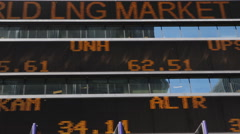 NYC Times Square Ticker Board Dow Jones Nasdaq Stock Exchange Billboard Display - stock footage
