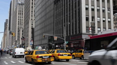 6th Avenue Midtown Manhattan Busy City Center Street Rush Hour Yellow Cab Car NY Stock Footage
