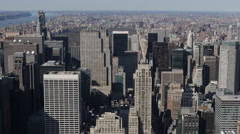 New York City Midtown Manhattan Aerial View Establishing Shot Big Apple Skyline Stock Footage