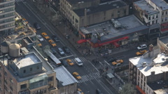 Busy Avenue People Crowd Commuting Morning Aerial View Crosswalk New York City Stock Footage