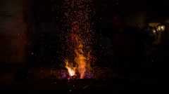 Working flame vintage blacksmith shop Stock Footage