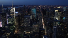 Big Apple Skyline Aerial View New York City Establishing Shot Fifth Avenue Night Stock Footage