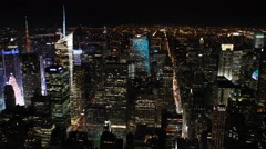 Big Apple Skyscrapers Evening Lights Aerial View New York City Skyline NYC Night Stock Footage