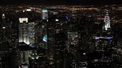 Nightfall New York City Cityscape Aerial View NYC Urban Panoramic Night Shot US Stock Footage