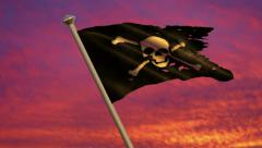 Pirate Jolly Roger Flag Animation  - 4K Resolution Ultra HD Stock Footage
