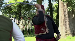 Turkish soldier in the middle of the sword combat Stock Footage