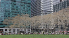 Corporate People Lifestyle Relaxation Lunch Break One Bryant Park New York City Stock Footage