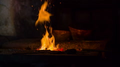 Fire in the blacksmith shop in the early modern period - stock footage