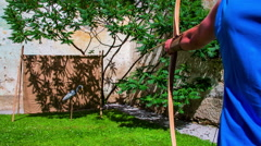 Training medieval archer Stock Footage