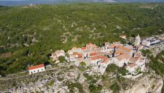 Aerial - Seaside village on the edge of a cliff Stock Footage