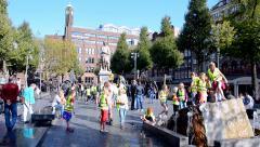 Rembrandtplein  (Rembrandt Square) in Amsterdam, Netherlands, Stock Footage