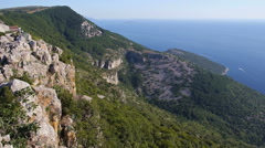 Aerial - Village on the edge of a cliff at seaside Stock Footage