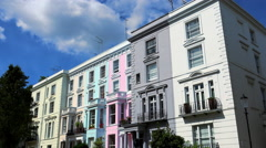 Colorful British houses in Notting Hill Stock Footage