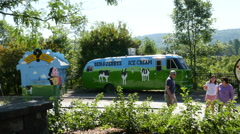 The Ben & Jerrys Ice Cream Bus Vermont Stock Footage