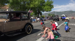 Rural community parade kids and candy fast time lapse 4K 231 Arkistovideo