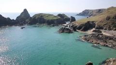 View of Kynance Cove The Lizard Cornwall England UK Stock Footage