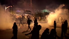 Police fire Live Bullets and Teargas on Peaceful Azadi March Protests Stock Footage