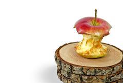 Rotting apple core Stock Photos