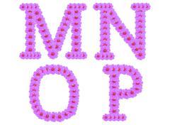alphabet m n o p, cosmos flower alphabet isolated on white - stock illustration