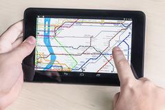 New york subway diagram on the tablet Stock Photos