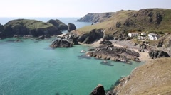 Turquoise sea Kynance Cove The Lizard Cornwall England UK Stock Footage