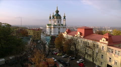 St. Andrew's Church and the street Andriyivsky Uzviz in Kiev. - stock footage