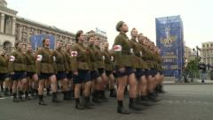 Historic military parade to commemorate the liberation of Kiev from the Nazis. - stock footage