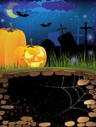 Terrible pumpkins on a night cemetery Stock Illustration