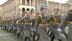 Military parade to commemorate the liberation of Kiev from the Nazis. - stock footage
