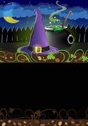 Witch hat and  cauldron Stock Illustration