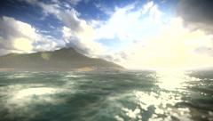 Oceanic mountain scene with passing jetboat Stock Footage