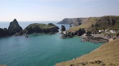 Kynance Cove Cornwall England UK summer day blue sea Stock Footage